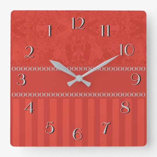 City Abstract Backwards Clock Red with Stripes