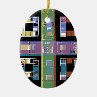 City apartments at night christmas ornament