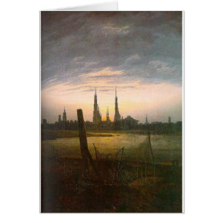 City at Moonrise by Caspar David Friedrich Greeting Card