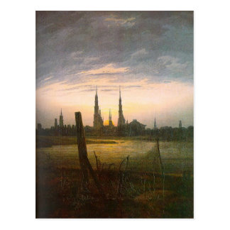 City at Moonrise by Caspar David Friedrich Postcard