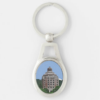 City Building, Asheville, NC Silver-Colored Oval Metal Keychain
