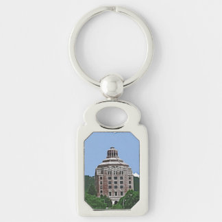 City Building, Asheville, NC Silver-Colored Rectangular Metal Keychain