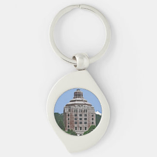 City Building, Asheville, NC Silver-Colored Swirl Metal Keychain