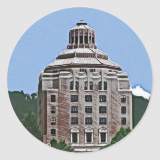 City Building, Asheville Round Stickers