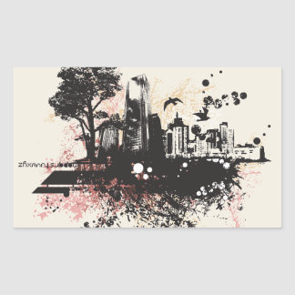 City Buildings Drawing Stickers