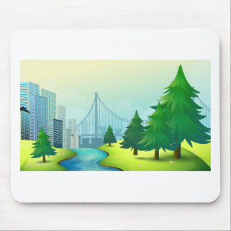 City buildings view with nature mouse pad