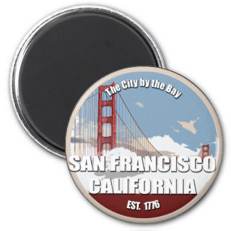 City by the bay, San Francisco California 6 Cm Round Magnet