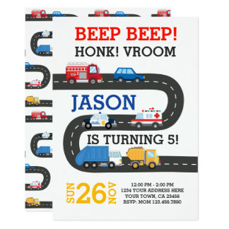 City Cars Invitation, 100% customizable Card