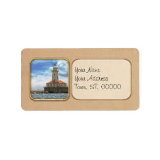 City - Chicago IL - Chicago harbor lighthouse Address Label