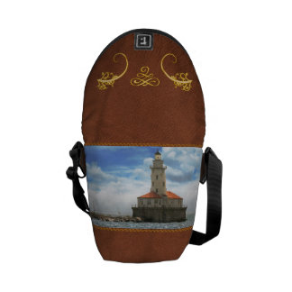 City - Chicago IL - Chicago harbor lighthouse Courier Bags