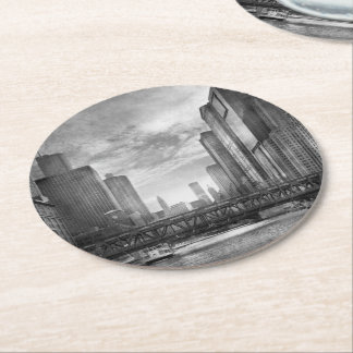 City - Chicago, IL - Looking toward the future BW Round Paper Coaster