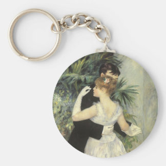 City Dance by Pierre Renoir, Vintage Fine Art Basic Round Button Key Ring