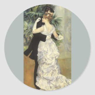 City Dance by Pierre Renoir, Vintage Fine Art Classic Round Sticker