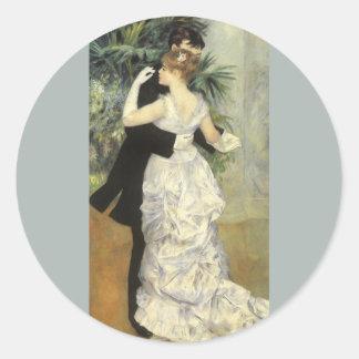 City Dance by Pierre Renoir, Vintage Fine Art Round Sticker
