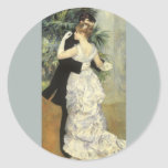 City Dance by Renoir, Vintage Impressionism Art Round Sticker