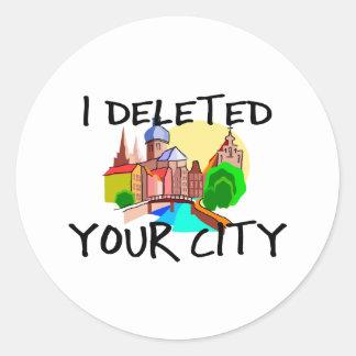 City Deleted Round Sticker