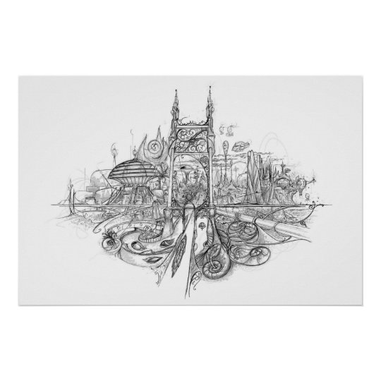 City Drawing Poster
