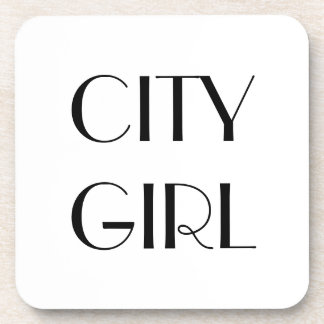 """CITY GIRL"" Hard Plastic Coasters with Cork Back"