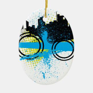 City Graffiti Double-Sided Oval Ceramic Christmas Ornament