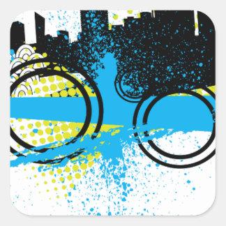 City Graffiti Square Sticker
