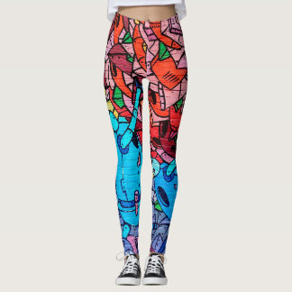 City Graffiti Street Art Brick Wall Leggings