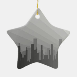 City Greyscape Ceramic Star Decoration