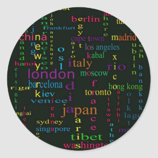 city in a city, round sticker