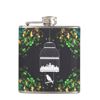 City in Cage Hip Flask