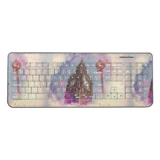City in Nebula #purple Wireless Keyboard