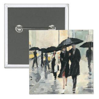 City in the Rain 15 Cm Square Badge