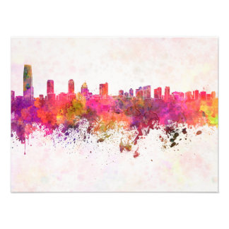 City jersey skyline in watercolor background photo