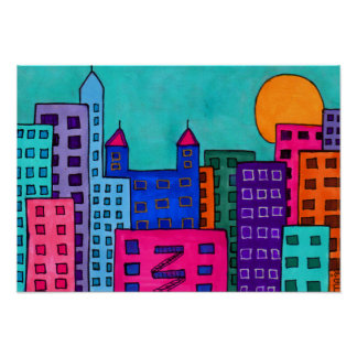 City Lights 8 Abstract Folk Art Poster