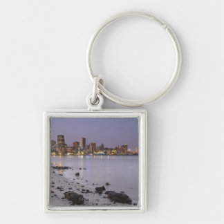 City lights at twilight with debris strewn beach key ring