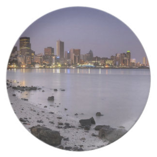 City lights at twilight with debris strewn beach plate