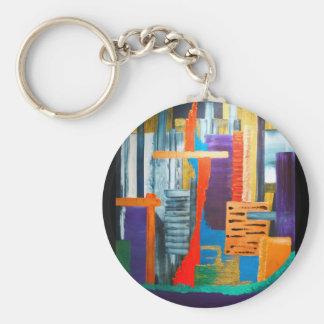 City Lights Basic Round Button Key Ring