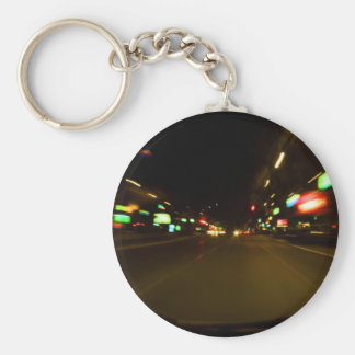 city lights - motion blurry basic round button key ring