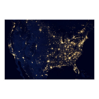 City Lights of the United States 2012 Poster