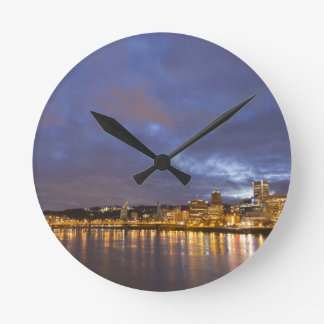 City lights reflected in the Willamette river Round Clock