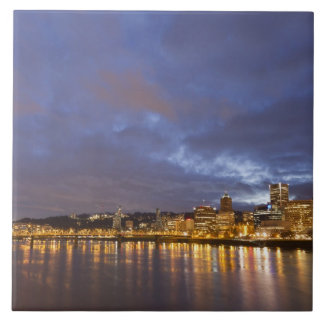City lights reflected in the Willamette river Tile
