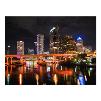 City Lights Skyline by Night Photographic Print
