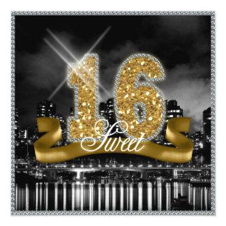 City Lights Sweet Sixteen Gold ID243 13 Cm X 13 Cm Square Invitation Card
