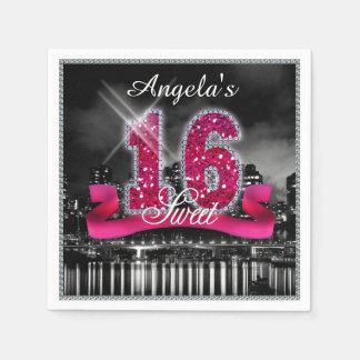City Lights Sweet Sixteen Pink ID117 Disposable Serviette