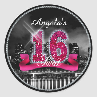 City Lights Sweet Sixteen Pink ID117 Round Sticker