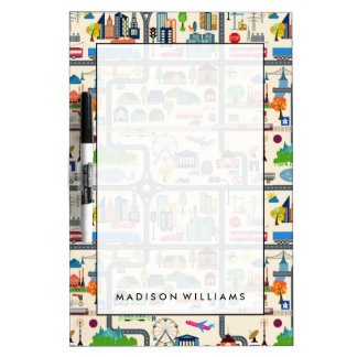 City Map Pattern Dry Erase Board
