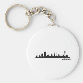 City Munich - skyline 1c Basic Round Button Key Ring