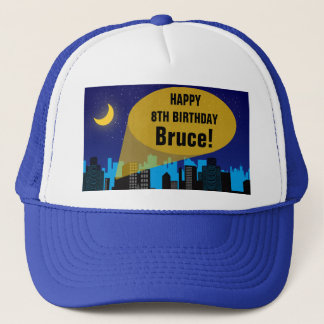 City Night Skyline Superhero Boys Birthday Party Trucker Hat