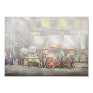 City - NY- Lunch carts on Broadway St NY - 1906 13 Cm X 18 Cm Invitation Card