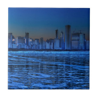 City of broad shoulders and lake Michigan Small Square Tile