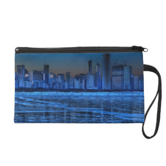 City of broad shoulders and lake Michigan Wristlet Clutches