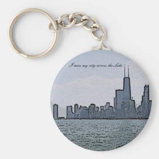 City of Chicago & Lake Michigan Sketch Basic Round Button Key Ring